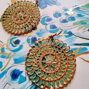 Gold Mint Disc Earrings with Diamond Accents